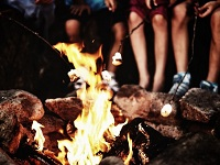 Camp-Fire-Marshmellows-Activity-Outdoor-Retreat-Alpine-Meadows-Photo
